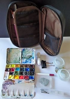 Hudson Valley Sketches: Lihit pencil case outfitted as watercolor kit
