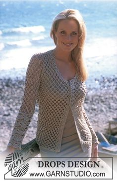 DROPS Crocheted cardigan in Cotton Viscose ~ DROPS Design