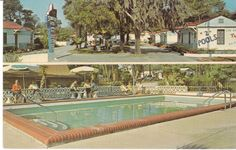 Two views of motel -- one of exterior of motel, and one very inviting view of the old fashioned swimming pool. Description from bonanza.mx. I searched for this on bing.com/images
