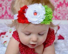 Strawberry Headband... Baby Headbands... Shabby Flower Headband... Baby Girl