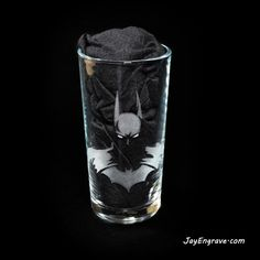 DC Comics Batman, The Dark Knight, hand engraved on a tumbler / hi-ball glass. This glass engraving was done by hand using a dremel and micromotor. Each engraved Glass Engraving, Hand Engraving, The Fragile, Vinyl Lettering, Dremel, Dark Knight, The Darkest, Dc Comics, Initials