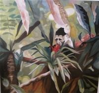 Monkey with Orchide /Ape med orkide by Katharina Zahl Fagervik Oil On Canvas, Monkey, Painting, Art, Art Background, Jumpsuit, Painting Art, Kunst, Monkeys