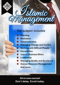 Islamic Management is part of BAIS (Bachelors in Islamic Studies) program of Islamic Online University. In this course you will learn, management from an Islamic Perspective, the role of Islamic values in promoting managerial excellence. Registration for SPRING 2014 Semester is OPEN!  Hurry up!!! #BAIS #IOU www.iou-bais.com  For any further queries, please contact us at info@iou.edu.gm