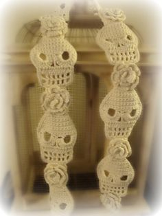 PDF PATTERN Skull and Roses Crochet Scarf by WickedCrochet71, $8.00