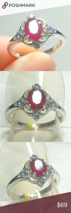 NWT Natural Ruby & Tanzanite Ring Natural Ruby & Tanzanite Ring, Platinum Plated .925 Sterling Silver Size 7 Jewelry Rings