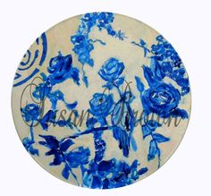 vinyl blue and white chinoiserie by femmehesse on Etsy, $22.50