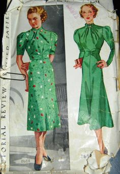 Vintage Original Pictorial Review 30's Unprinted Dress Pattern No. 8684