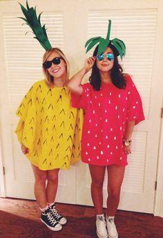 DIY pineapple and strawberry costume --- FAÇA VOCÊ MESMO MORANGO E ABACAXI PAR AO CARNAVAL