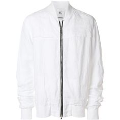 Lost & Found Rooms long sleeved bomber jacket ($467) ❤ liked on Polyvore featuring men's fashion, men's clothing, men's outerwear, men's jackets, white, mens linen jacket, mens white jacket, mens white linen jacket and mens white bomber jacket