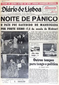 The 1969 Portugal earthquake struck western Portugal and Morocco on February 28 Old Pictures, Old Photos, History Of Portugal, Nostalgia, Newspaper Archives, Iberian Peninsula, Atlantic Ocean, Portuguese, Vintage Posters