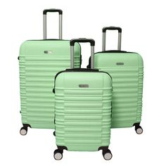 Make your next travel adventure a stylish one with this World Traveler California Luggage Set. Made of ABS, these hardside suitcases will withstand the harsh movements of travel. Spinner wheels allow easier movement with these upright suitcases.