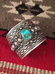 Gene Natan Vintage Navajo Turquoise And Sterling Silver Bracelet Signed