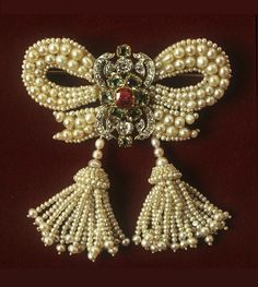 Bow Brooch of Pearls, Diamonds, Rubies, Emeralds and Mother-of-Pearl, Set in Silver and Gold, Europe, 1830.