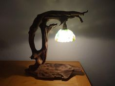 Driftwood and Frosted Glass Desk Lamp From Corsica Table Lamps Wood Lamps