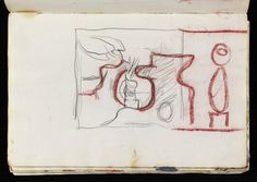 Graham Sutherland OM 'Sketch for a landscape-shaped composition with a pterodactyl at the top left', 1950 © The estate of Graham Sutherland Landscape Drawings, Sketchbooks, Graham, Composition, Foundation, Objects, Sketches, Watercolor, Map