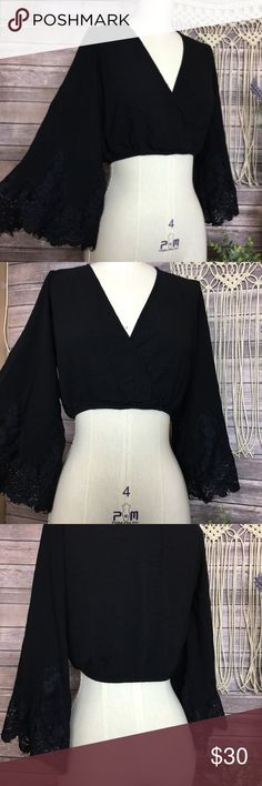 Brandy Melville Black Lace Bell Sleeve Crop Top ◑ Excellent Condition  ◑ Ships within one day of payment  ✿Thank you for looking &  feel free to check out my other items!✿ Brandy Melville Tops Crop Tops