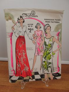 Vintage Alfred Shaheen Hawaii multi-purpose pattern 2 dresses and hostess skirt sizes 6 to 18 uncut by CircularVintage on Etsy