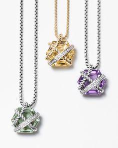 Petite Cable Wrap pendants with diamonds.