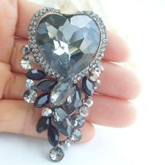 Bridal Rhinestone Brooch In Gray,  Elegant Black & Gray Crystal Heart Lock Brooch, Brooch Bouquet, DIY Accessory, Bridal Jewelry - BP02079C7
