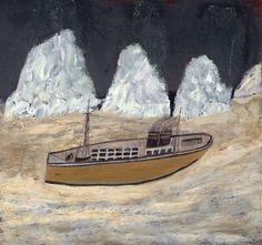 Alfred Wallis (1855‑1942)  Voyage to Labrador  ?c.1935-6  Oil on wood