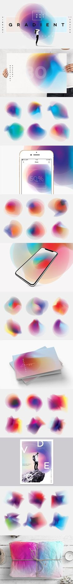 Gradient Energy- 30 vibrant shapes by Polar Vectors on @creativemarket