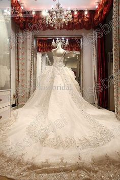 Wholesale New Arrival 2013 Long Train Ball Gown Beaded Appliques Spaghetti Straps Wedding Dresses Lace Up, Free shipping, $470.4-482.22/Piece | DHgate