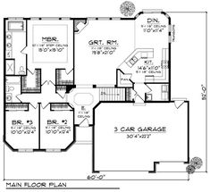 Switch the laundry and second bath. Split the plan right down the middle so the bedrooms are on the other side of the dog trot. Move the garage to the side of the house, add a wrap around porch. First Floor Plan of Country Ranch House Plan 73189 Ranch House Plans, Dream House Plans, Small House Plans, House Floor Plans, Ranch Floor Plans, 3 Bedroom Home Floor Plans, The Plan, How To Plan, Plan Plan