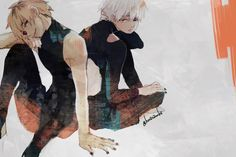 """Tokyo Ghoul Hide / Ken <- Not a big fan of making Hide a ghoul...but, I like their poses...(and it's a pretty cool picture...yet...Kaneki's face is like...."""" Why Hide,...why.""""*LOL*)(Hide also looks like an OC a lot more I think) OwO"""