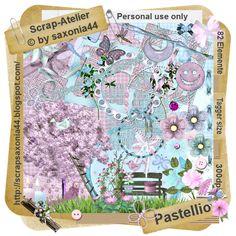 saxonia44: Pastellio. Colección de papeles y elementos en malva y celeste.