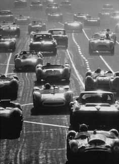 The start of the 12 hours of Sebring race, 1963!  Glory Days!