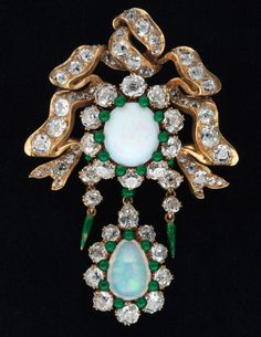 Opal brooch, circa 1885. Gold, opal, diamonds, enamel.