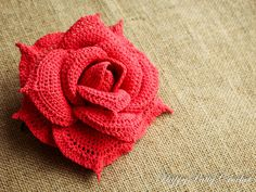 Handmade Crochet Rose. More than 6 in diameter makes this blossom a very attractive applique for a bouquet, or as a centerpiece of a decoration