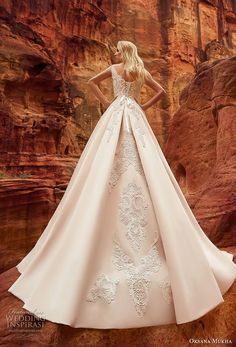 oksana mukha 2018 bridal cap sleeves v neck heavily embellished bodice romantic princess a  line wedding dress corset back chapel train (isadora) bv -- Oksana Mukha 2018 Wedding Dresses