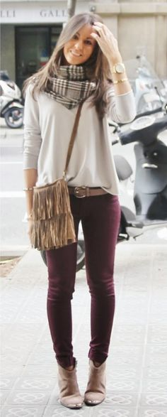 Fall look: white long sleeve, with printed scarf, maroon jeans, and nude/gold accessories.