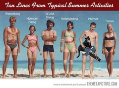 Tan lines from typical summer activities�