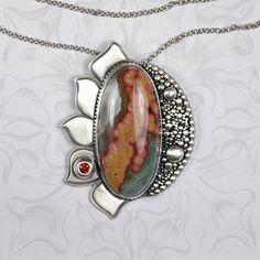 Pendant | Susan from EraArtJewelry.  Sterling silver, ocean jasper and orange cz.