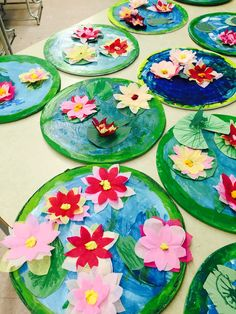 Nymphéas de Monet- 1re année Art Lessons For Kids, Art Lessons Elementary, Art For Kids, Art Club Projects, Girl Scout Bridging, History For Kids, Summer Crafts For Kids, Classroom Projects, Spring Art