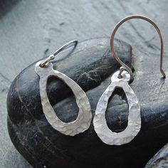 Hammered Silver Earrings, Silver Oval Earrings, Handmade Silver Earrings, Lightweight Earrings, Bohemian Style, Boho Earrings, Silver Dangle