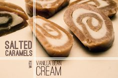 salted caramel swirls with vanilla bean cream Candy Recipes, Cookie Recipes, Dessert Recipes, Xmas Recipes, Caramel Recipes, Fun Recipes, Dessert Ideas, Sweet Recipes, Recipe Ideas