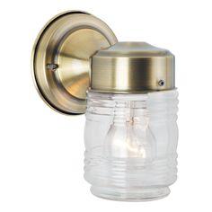 Bel Air Lighting 4-inch Antique Brass Jelly Jar Outdoor Light Fixture  (Outdoor lighting), Gold (Glass)