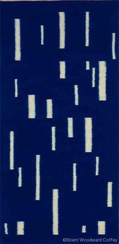 Prairie Rain, Hand-dyed weft-faced ikat, wool, linen, dyes, 60 x 28 in, $1350 ©Sherri Woodard Coffey