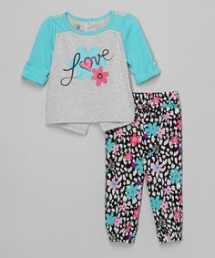 Another great find on #zulily! Blue 'Love' Tee & Floral Joggers - Infant by Kids Headquarters #zulilyfinds