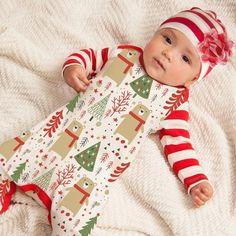 Romper and Hat Toddler // Baby Christmas Elf Outfit 6-9 Months, Red Striped 2 Designs