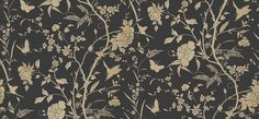 Liang Black with Metallic Gold (T36179) - Thibaut Wallpapers - An exquisite Eastern influenced floral print featuring butterflies and birds in a luxurious black and metallic gold colourway. Other colourways are available. Wide width. Please request a sample for true colour match.