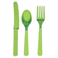 Green Plastic Fork/Knife/Spoon Set - 8 each
