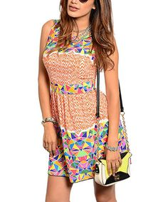 Another great find on #zulily! Ivory & Orange Geometric Fit & Flare Dress #zulilyfinds