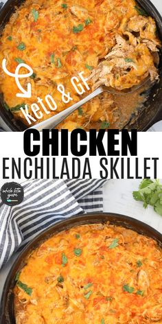 Low Carb Chicken Recipes, Healthy Low Carb Recipes, Keto Chicken, Keto Recipes, Recipes Dinner, Skillet Recipes, Healthy Chicken Enchiladas, Chicken Enchilada Skillet, Green Chili Chicken