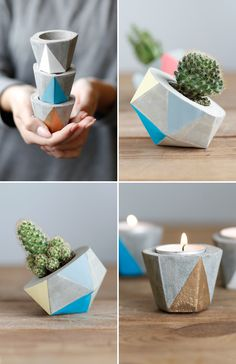 DIY - Geometric cement planters and candle holders | www.homeology.co.za     #diy #decor #crafts #beautiful #homedecor #home #homebeautiful #planters #makeit #stunning