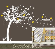Tree Wall Decal Nursery Wall Decals Tree and by secretofthecat, $85.00 (Or this one with different color birds.)