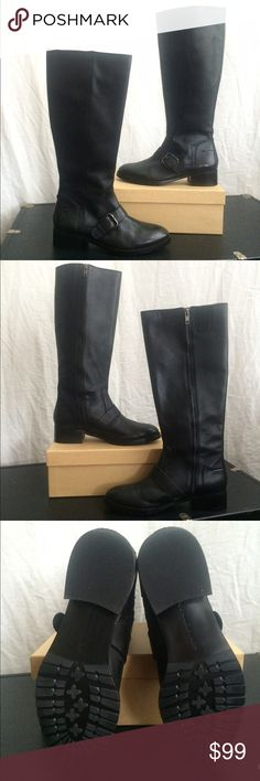 Donald J Pliner black leather boots, size 8 Donald J Pliner size 8 black leather boots. Zip up inside, 1.5 in heel, buckle detail on outside. New with out tags, some knicks in the leather on right heel due to storage. Never worn and in great condition besides heel. Donald J. Pliner Shoes